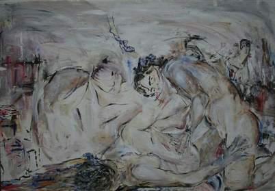 Ingrid Grillmayr - F R E E ,  2 0 0 8  -  oil on canvas 200 x 140 cm