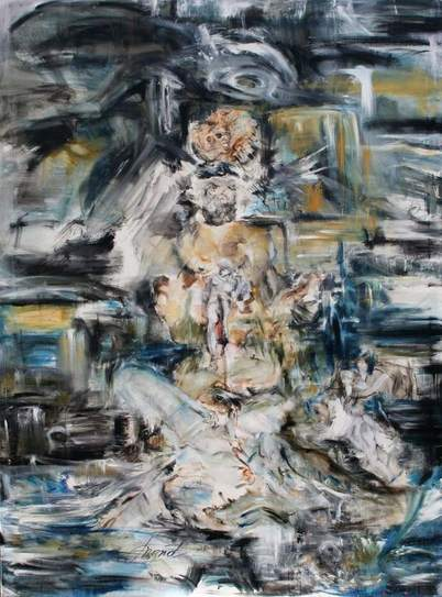 Ingrid Grillmayr - B U O N A R R O T I S _ Z O R N ,  2 0 1 0  - oil on canvas 150 x 200 cm